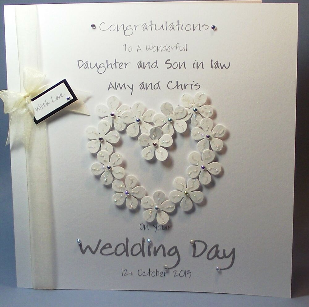 Appropriate Amount To Spend On A Wedding Gift: PERSONALISED HANDMADE FLOWER-HEART CONGRATS WEDDING DAY