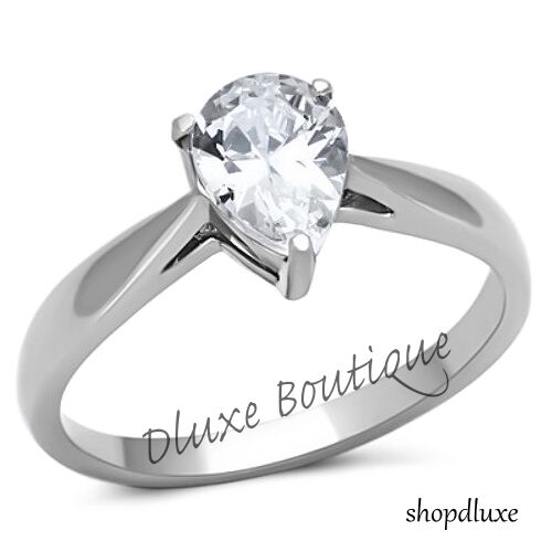 1 35 Ct Pear Shape AAA CZ Stainless Steel Solitaire Engagement Ring Size 5 10