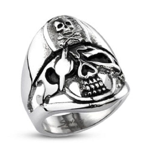 Harley biker 316l stainless steel pirate skull captain for Biker jewelry stainless steel