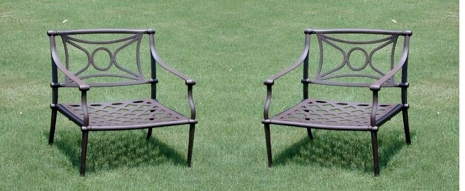 Cast Aluminum Patio Furniture 2 Club Chairs In Bronze With
