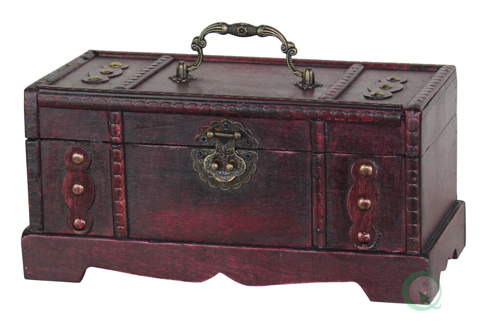 Antique wooden trunk old treasure chest small ebay