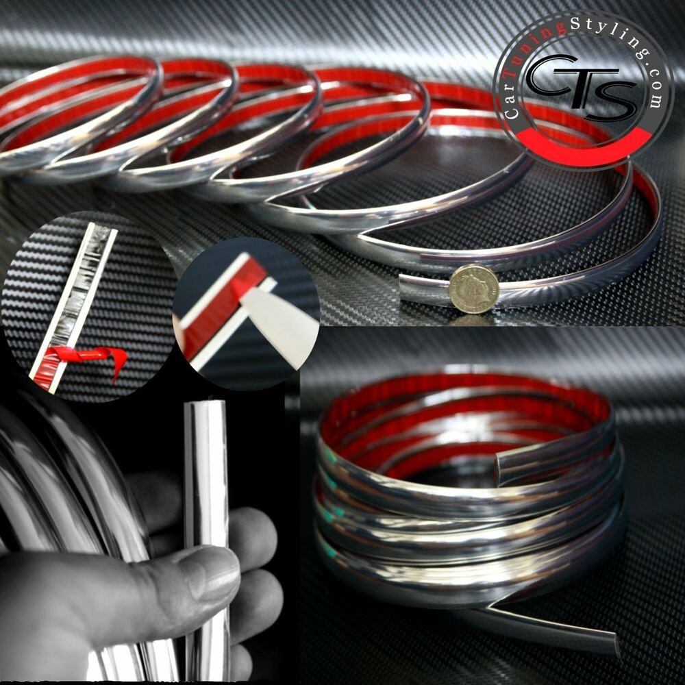 new self adhesive car chrome styling strip 2m x 12mm ebay. Black Bedroom Furniture Sets. Home Design Ideas