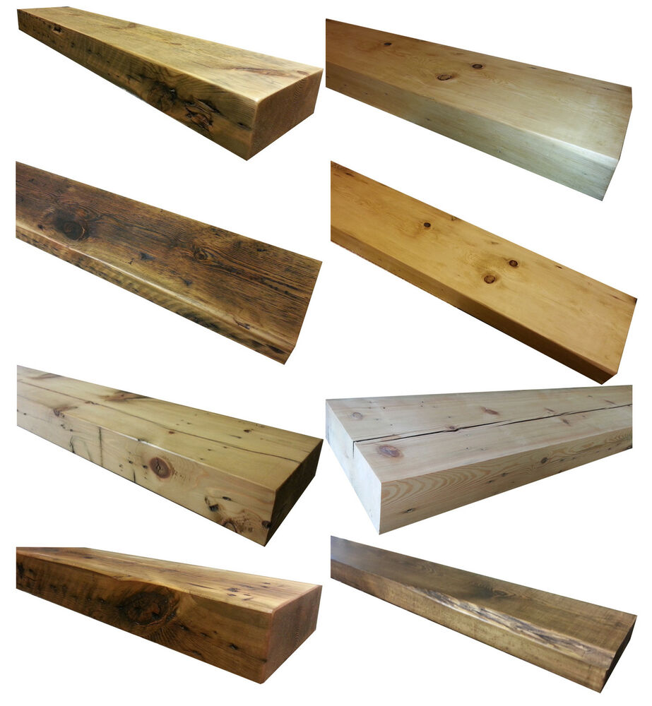 "Reclaimed Floating Shelf 6"" DEEP Mantel Shelves Rustic Pine Timber Old ..."