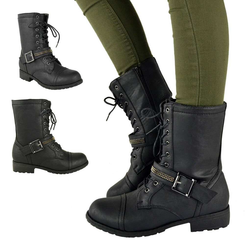 ladies womens flat low heel lace up army military combat. Black Bedroom Furniture Sets. Home Design Ideas