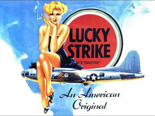 Lucky strike cigarettes pin up girl b 17 ww2 us aircraft small metal tin sign ebay - Small tin girl ...