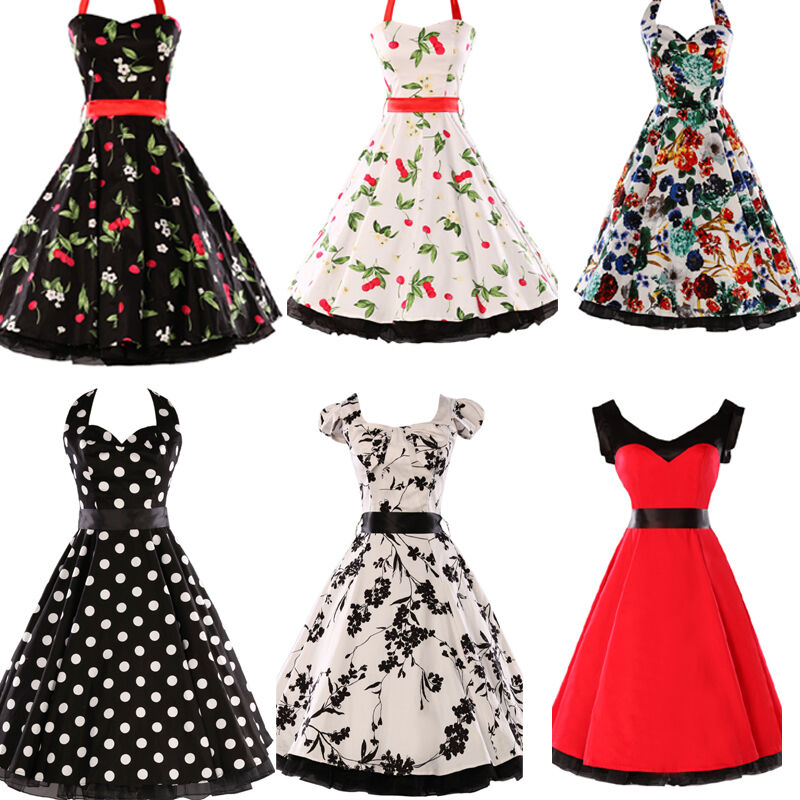 rockabilly 50er jahre kleid petticoat polka dot dirndl gothic pin up karneval ebay. Black Bedroom Furniture Sets. Home Design Ideas