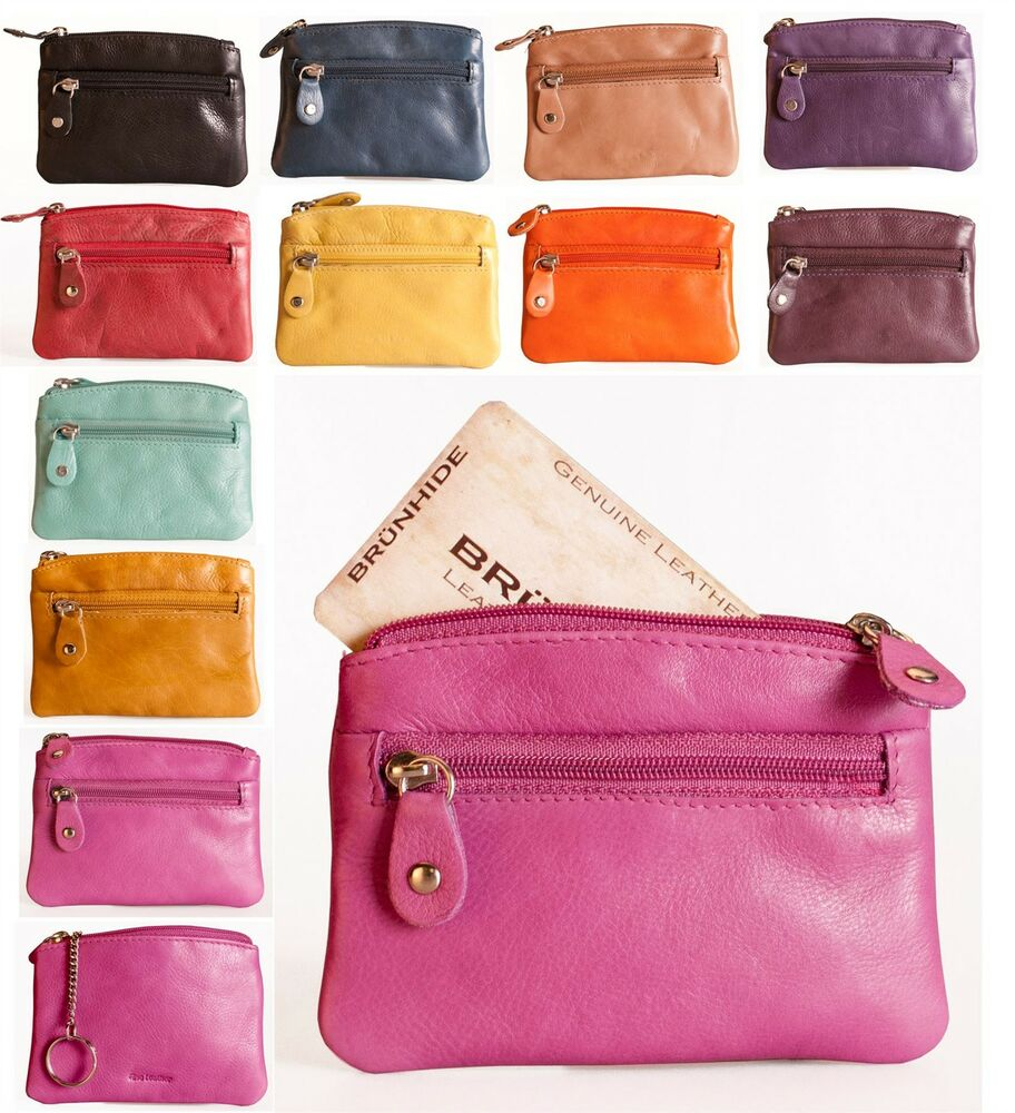 Credit Coin: Brunhide Ladies Small Leather Coin Purse Credit Card & Key
