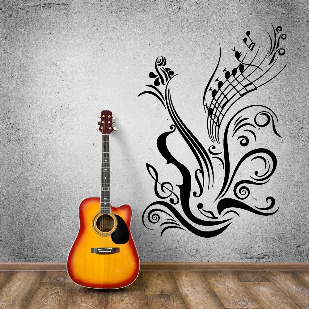 Cool Music Wall Decor : Music vinyl decal guitar notes cool for room wall