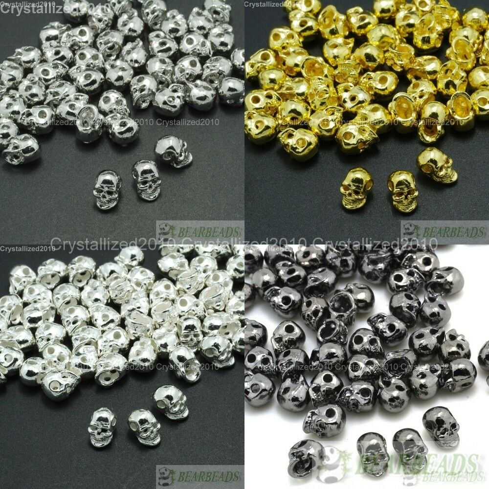Bead Charms For Bracelets: Side Drilled Metal Skull Bracelet Necklace Earring