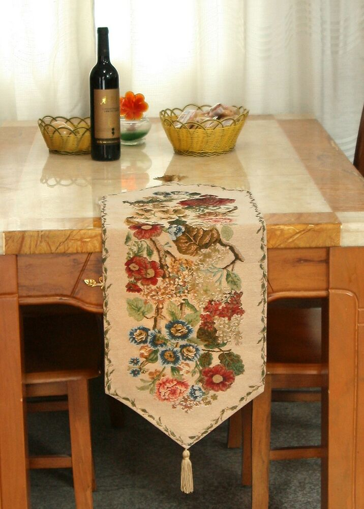 Tache Decorative Tapestry Floral Country Rustic Morning Meadow Table Runner Ebay