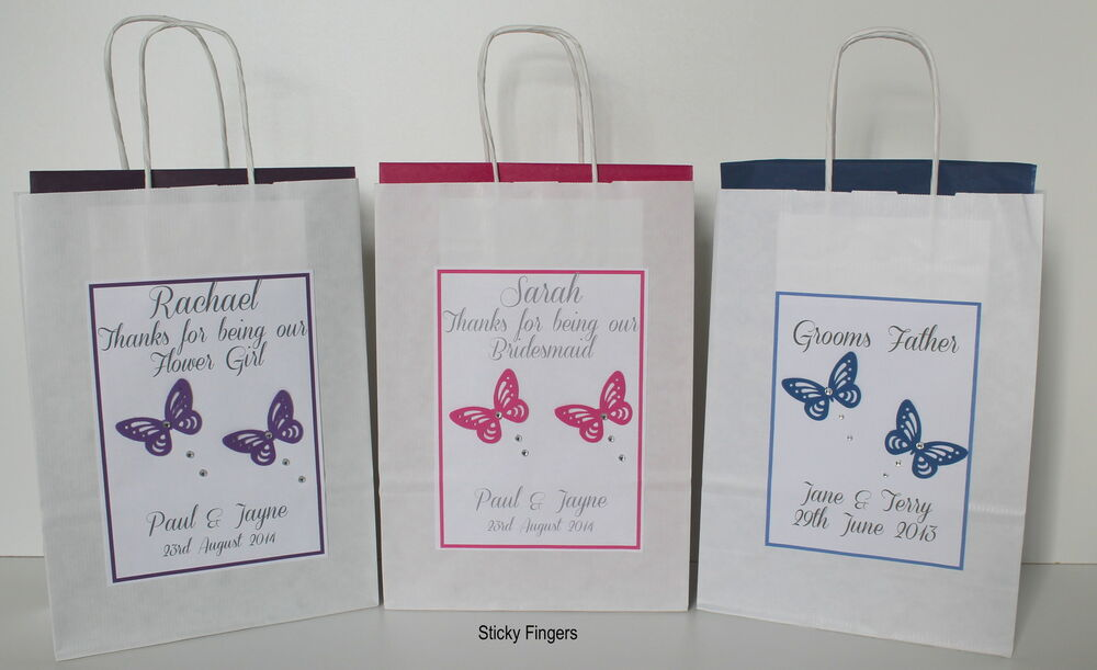 Personalised Wedding Gift Bags Uk : Personalised Wedding Butterfly Gift Bags Thank You Present Favour All ...
