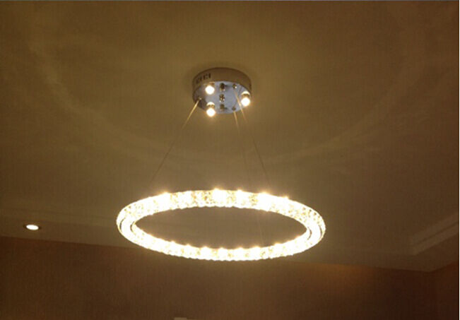 New Modern Led Round 3 Sides Crystal Pendant Lamp Ring