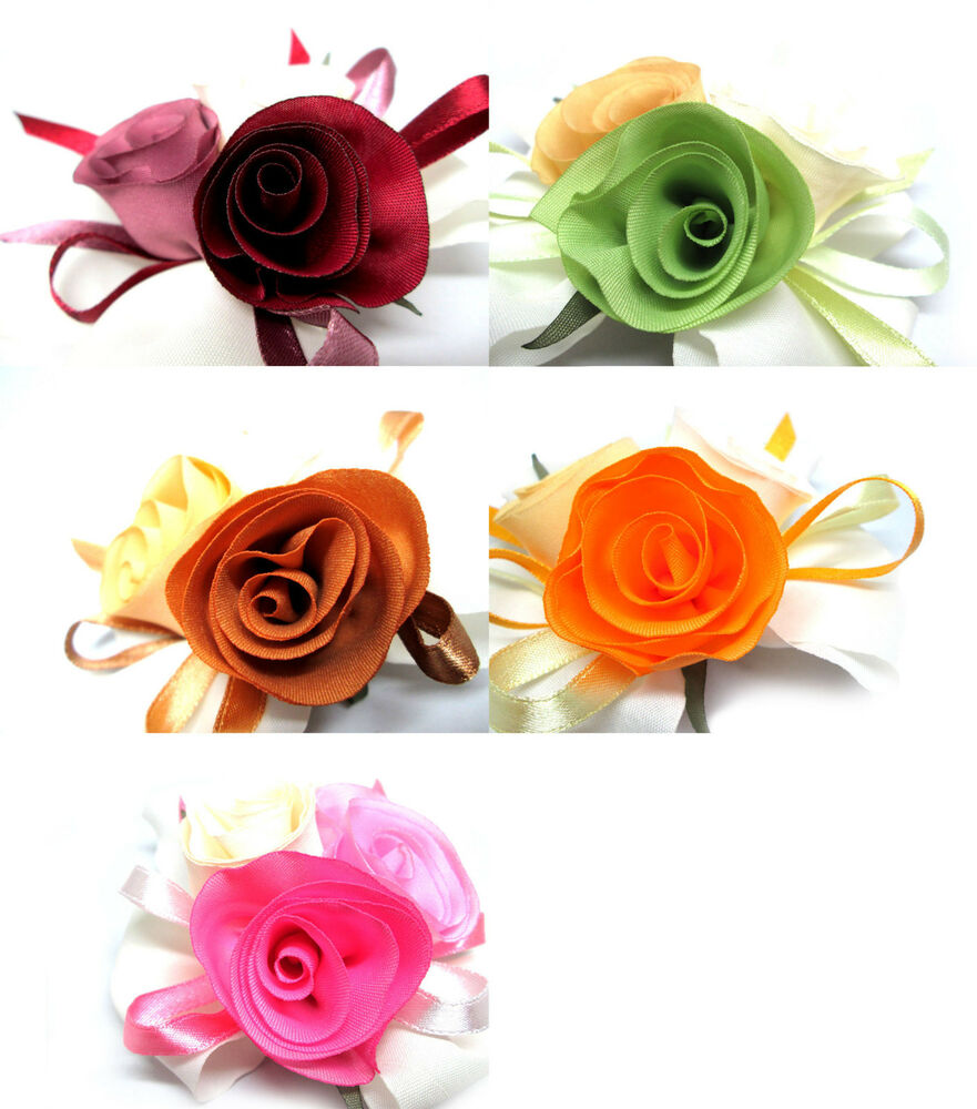 Satin ribbon rose silk fabric flower heads diy bridal for Flower heads for crafts
