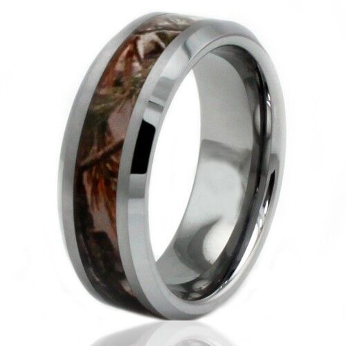 Men39s tungsten carbide forest woods camouflage engravable for Tungsten camo wedding rings