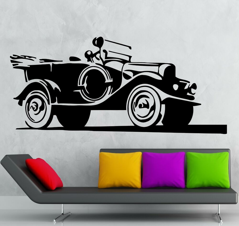 Wall stickers vinyl decal old vintage car garage jeep army for Cars wall mural sticker