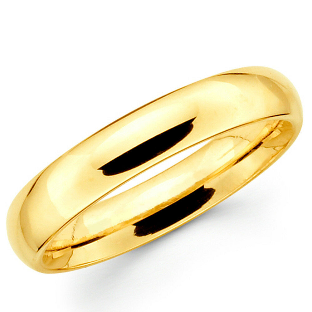 10k Solid Yellow Gold 4mm Plain Men S And Women S Wedding