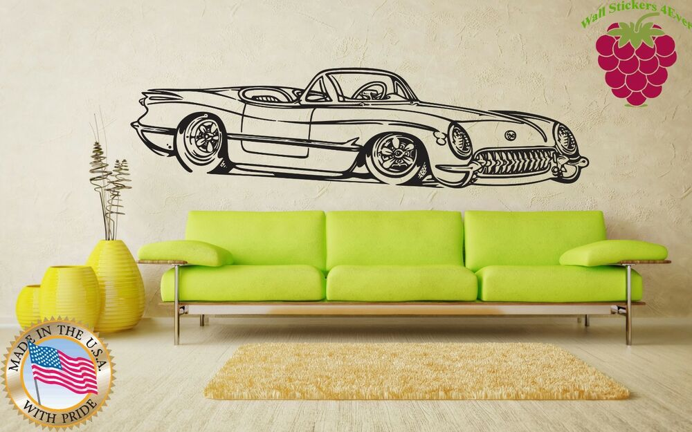 Vintage Auto Wall Decor : Wall stickers vinyl decal retro vintage car cabriolet
