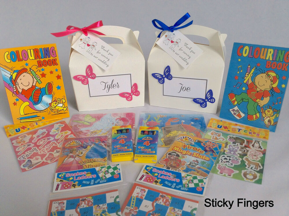 Personalised Childrens Wedding Gift Bags : Personalised Filled Butterfly Children Wedding Activity Bag Box Favour ...