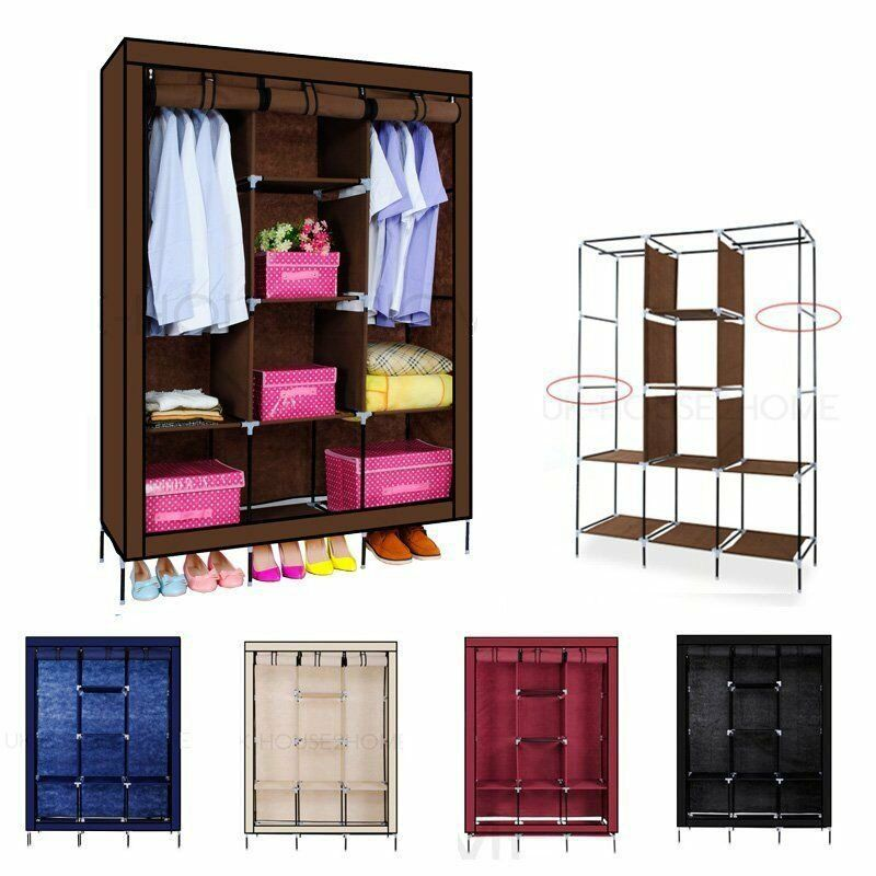 Large Space Storage Portable Bedroom Triple Wardrobe