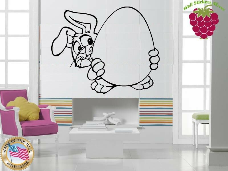 Wall stickers vinyl decal easter bunny with egg holiday for Christmas wall mural plastic