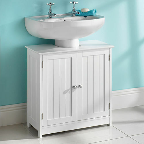 WHITE WOOD UNDER SINK CABINET BATHROOM STORAGE UNIT - 270122