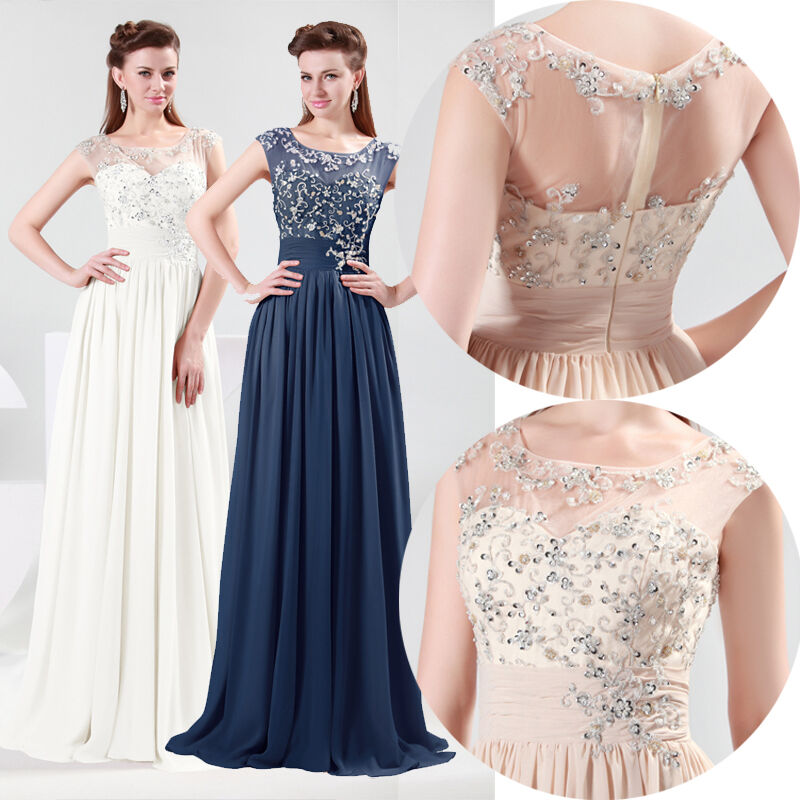 Long Applique Formal Evening Party Ball Gown Prom Bridesmaid Dress UK Size 616
