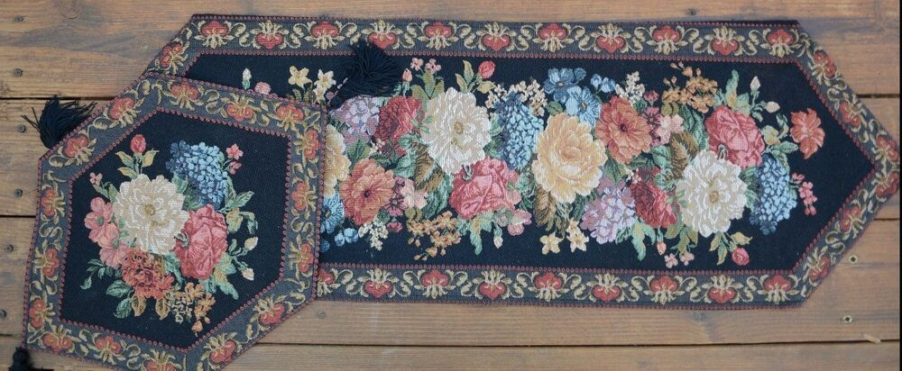 3 Piece New Colorful Tapestry Country Floral Midnight