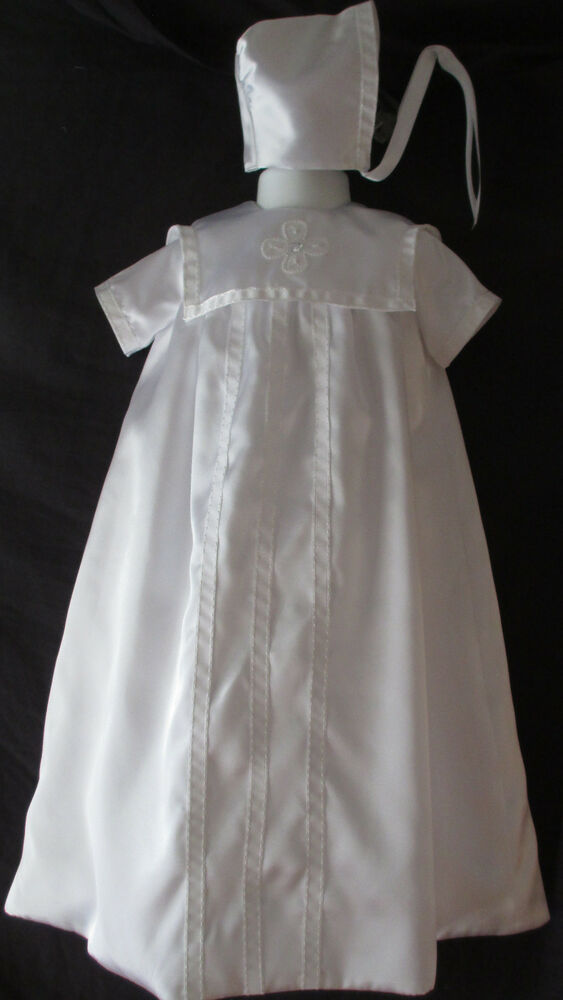 Reborn Baby Girls Or Boys Satin Christening Gown Baptism
