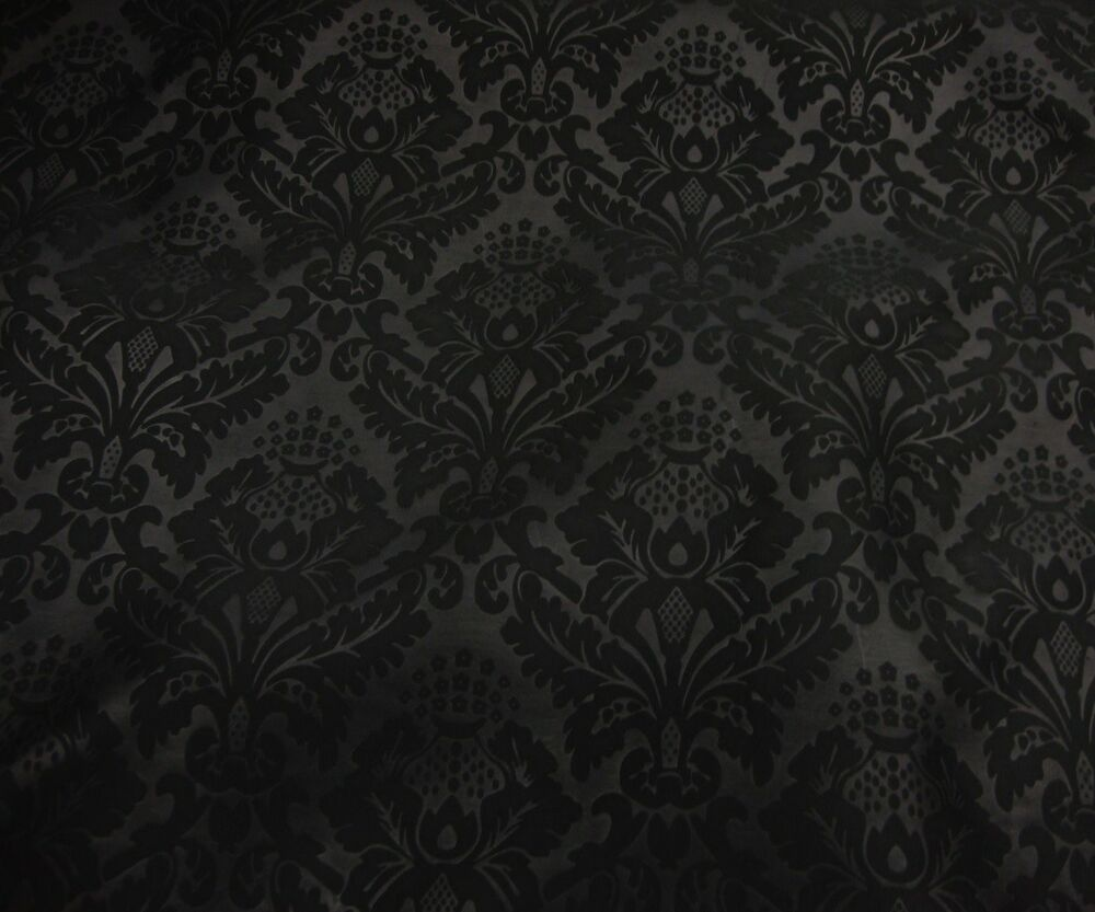 black on black blackout damask pattern upholstery drapery fabric by the yard 60 ebay. Black Bedroom Furniture Sets. Home Design Ideas