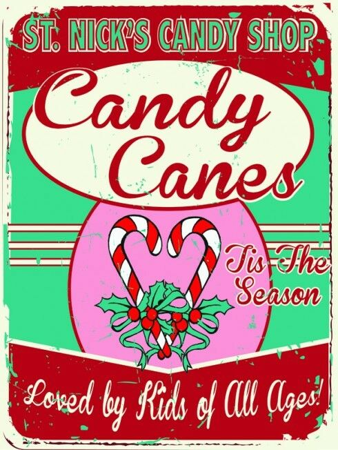 St nicks candy shop metal sign holiday treats retro