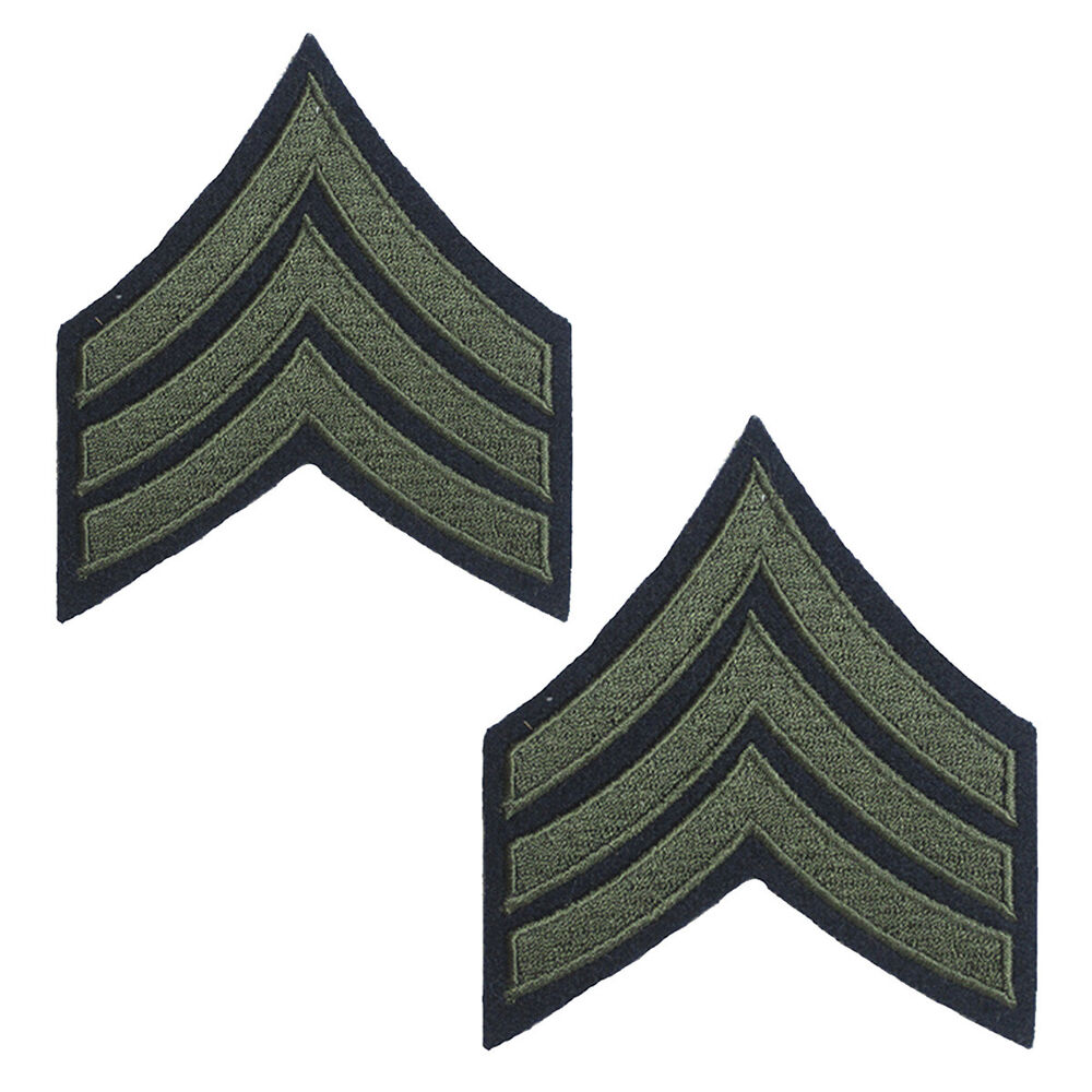 Sergeant Stripes Olive Ww2 Repro American Rank Patch
