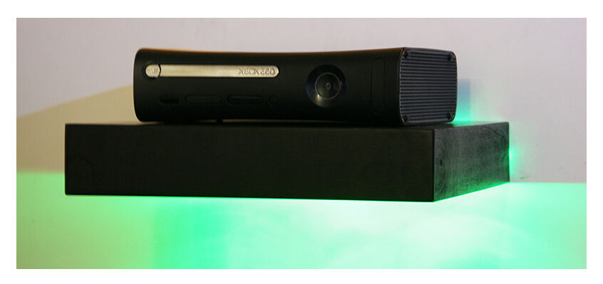 New black handmade xbox wooden wall floating shelf with green led