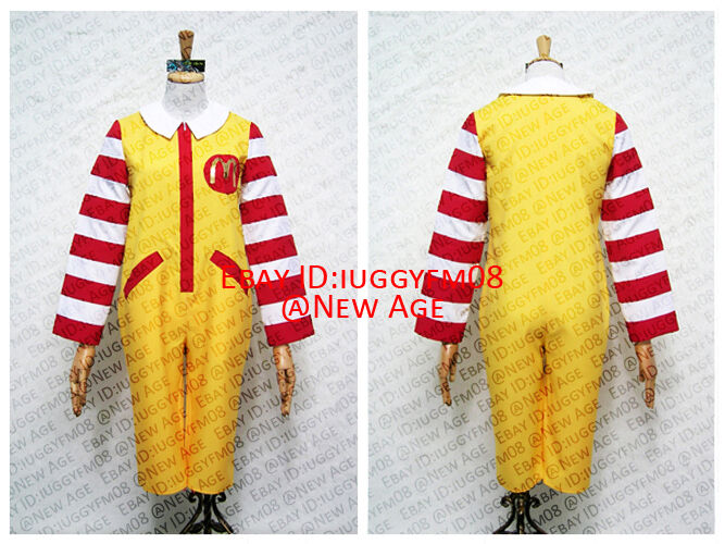 Ronald McDonald Cosplay Costume Outfit Jumpsuit Gloves Leg Warmer ...