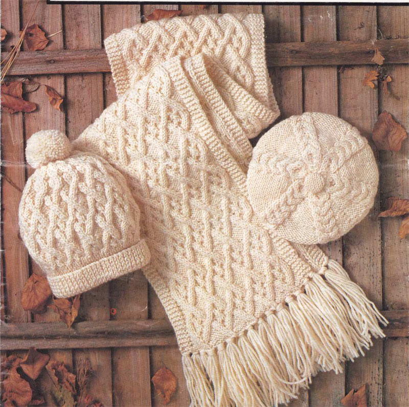 Free Knitting Pattern For Cushion Cover : Knitting pattern - Ladies- Gents- Childs Aran Scarf- Beret and Hat eBay