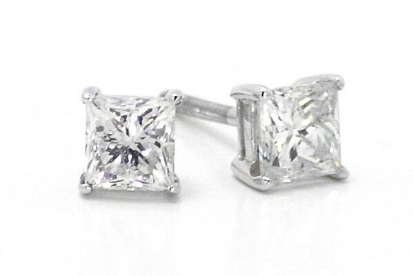1 ct princess cut earrings 14k white gold princess cut solitaire 4 5 mm prong 3538