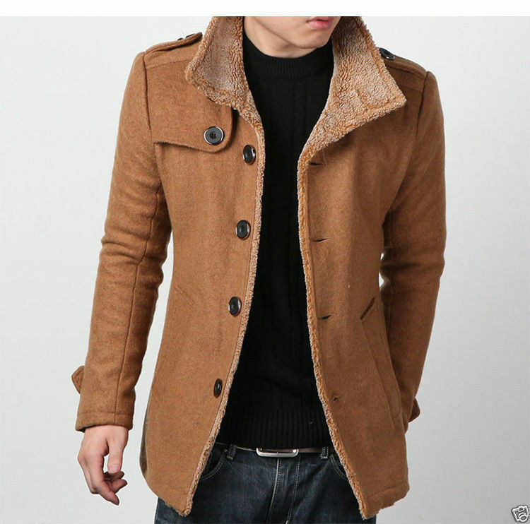 Mens coat wool peacoat Slim Winter Trench coat parka