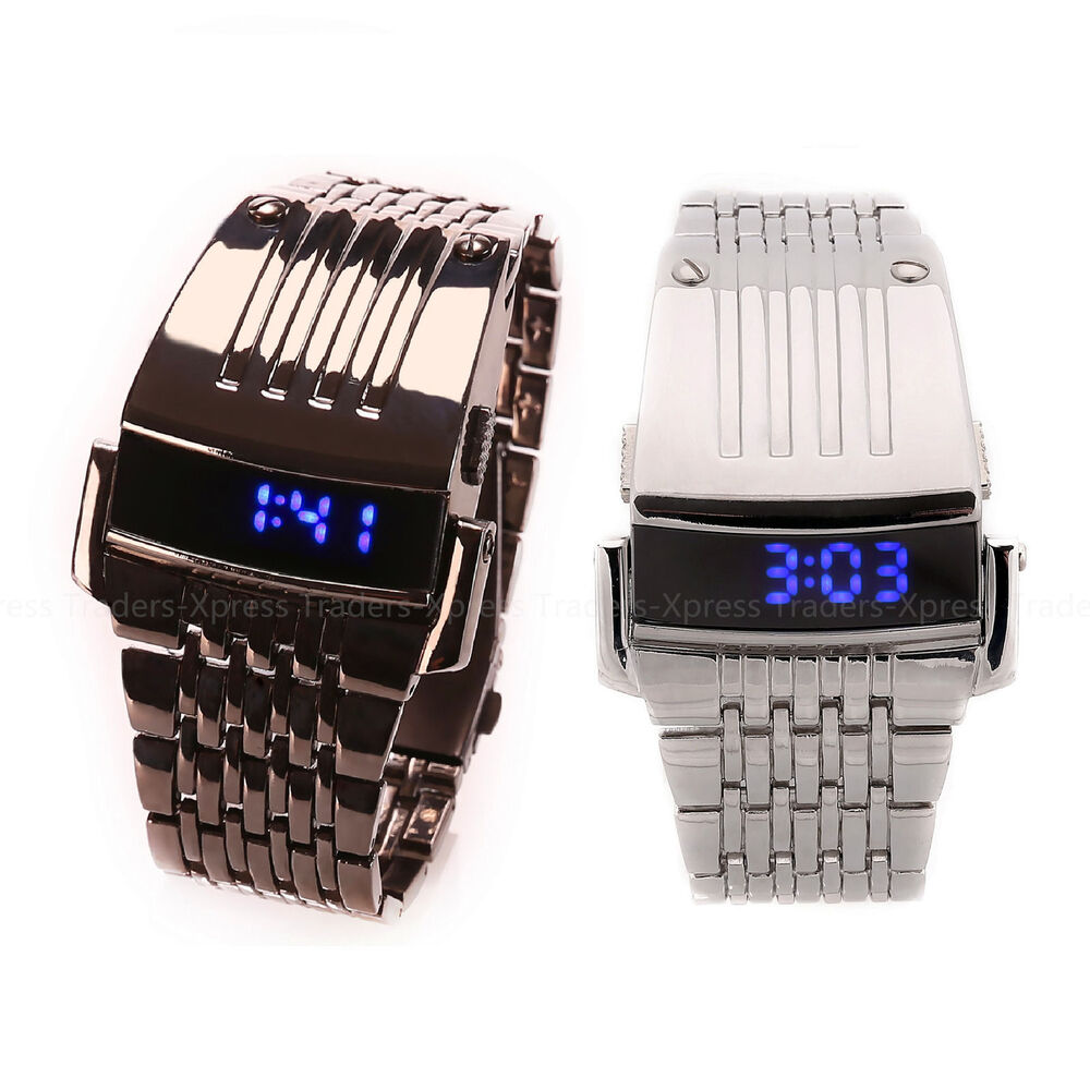 luxury stainless steel band mens digital date blue led. Black Bedroom Furniture Sets. Home Design Ideas