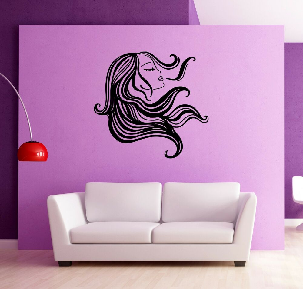 wall stickers vinyl decal beautiful hair hairstyle beauty. Black Bedroom Furniture Sets. Home Design Ideas