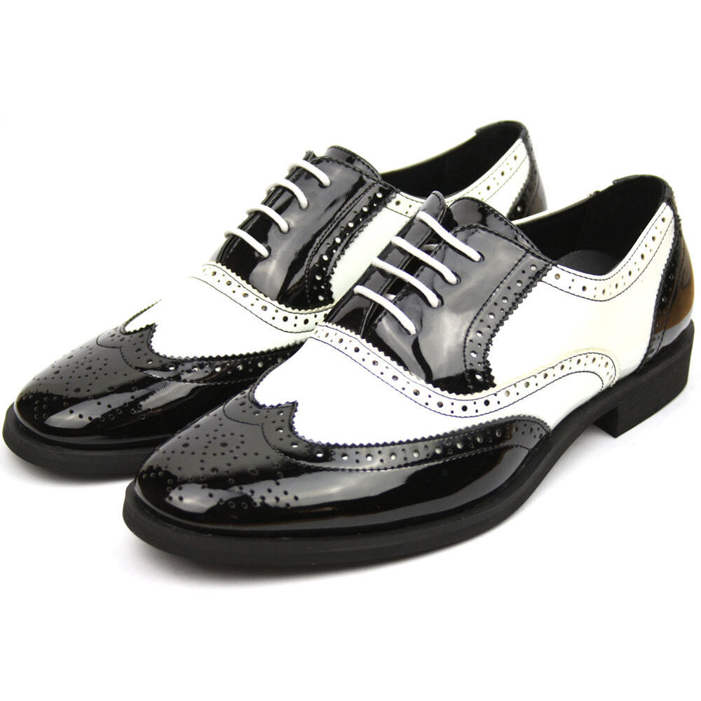 New mens brogue shoes black white italian style patent for Black and white shows
