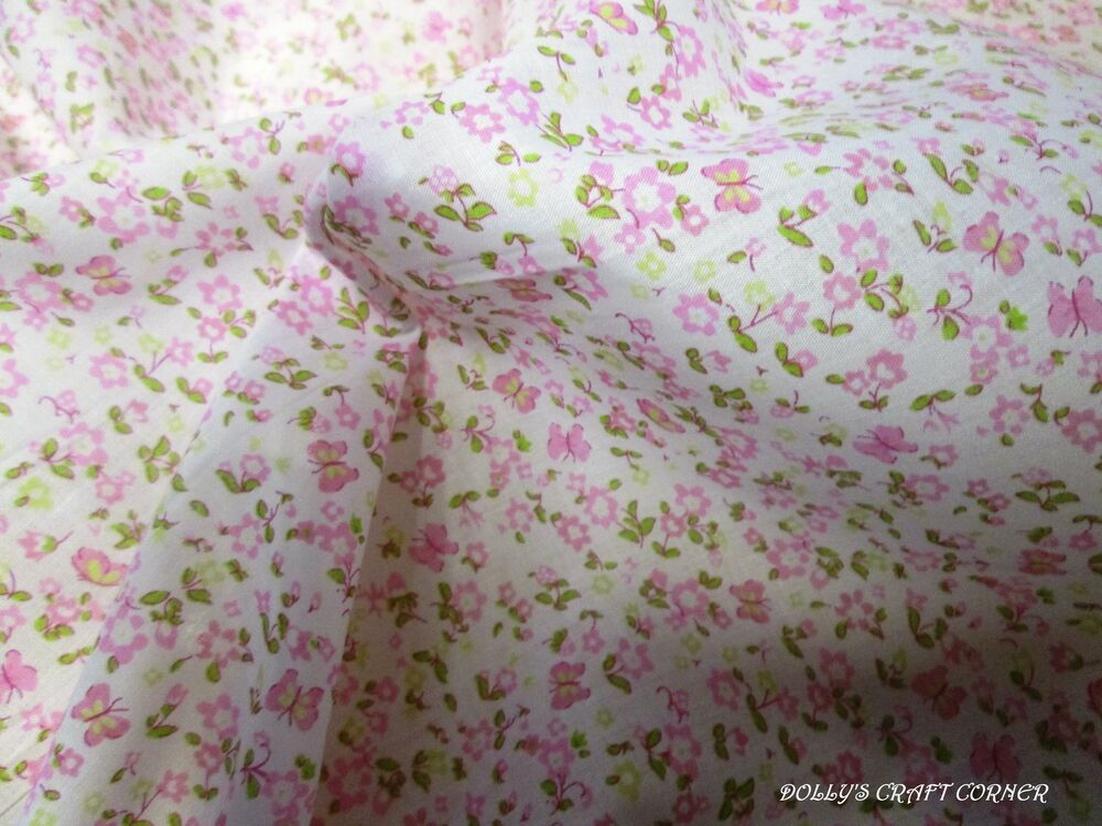 Baby girl nursery fabric polycotton floral butterfly pink for Nursery fabric uk