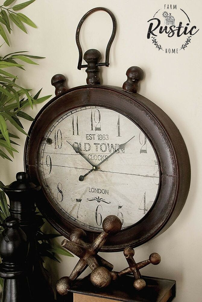 Large metal oval wall clock rustic decor new york industrial vintage antique ebay - Oval wall decor ...