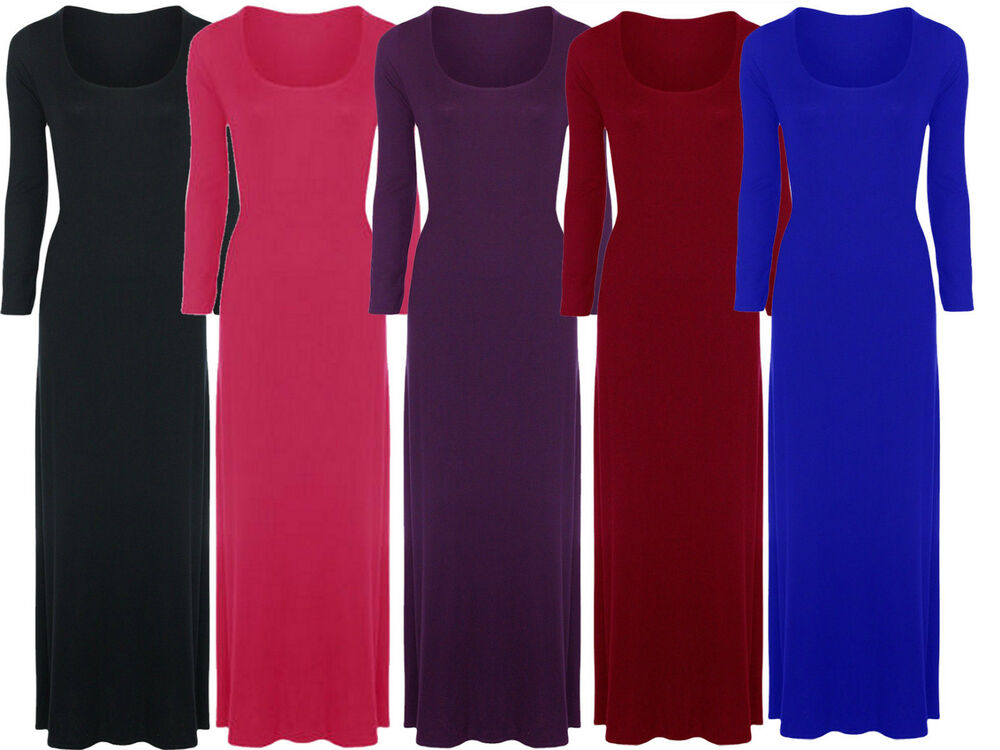 New Womens Plus Size Long Sleeve Maxi Dress Fitted Stretch Jersey ...