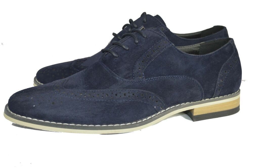Blue Suede Brogue Shoes