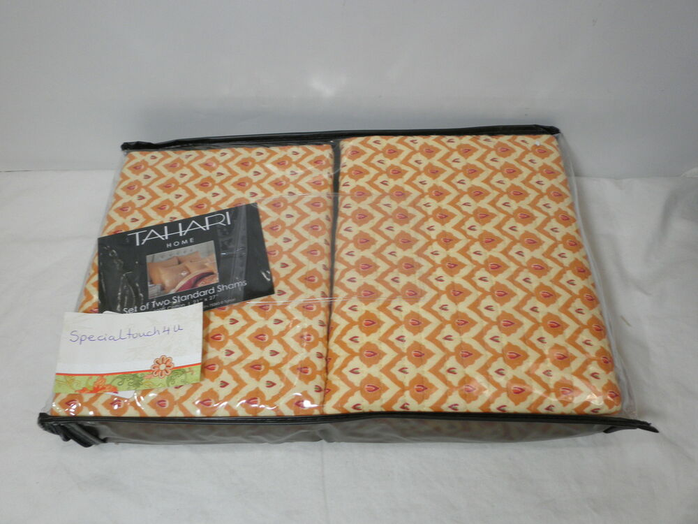 Tahari Home Decorative Pillows : New Tahari Set of Two Standard Pillow Shams 21x27 Cream/Rusted Color NIP eBay