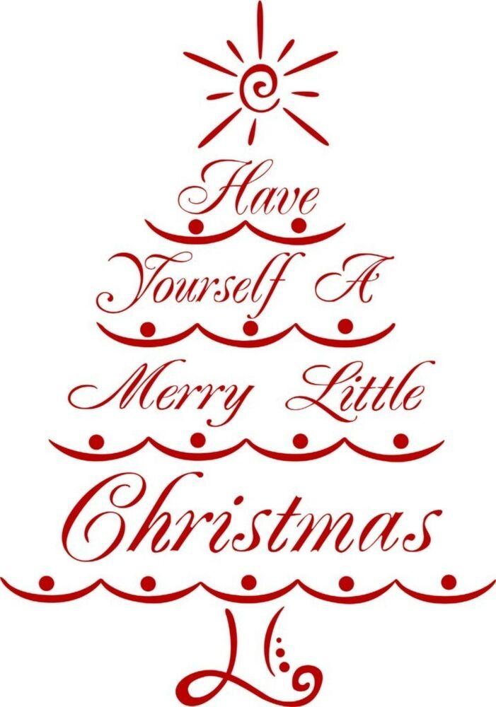 Merry christmas tree vinyl wall decal holiday decor for Christmas wall mural plastic