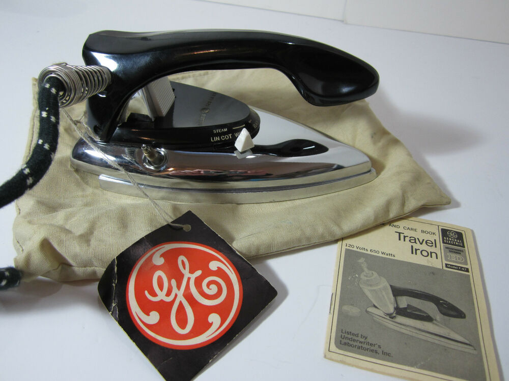 General Electric Iron ~ Vtg modern retro ge general electric travel iron home