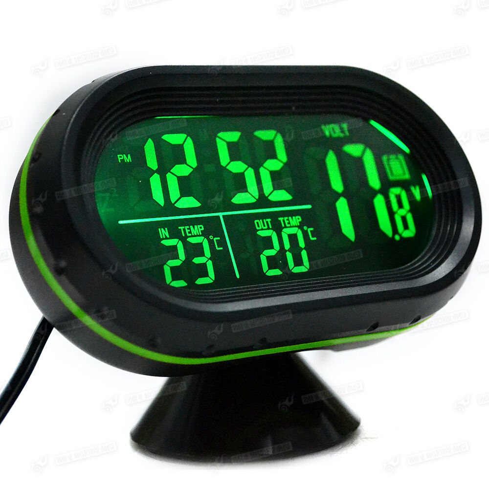 auto kfz digital uhr lcd thermometer spannungstester 12v multifunktion ebay. Black Bedroom Furniture Sets. Home Design Ideas