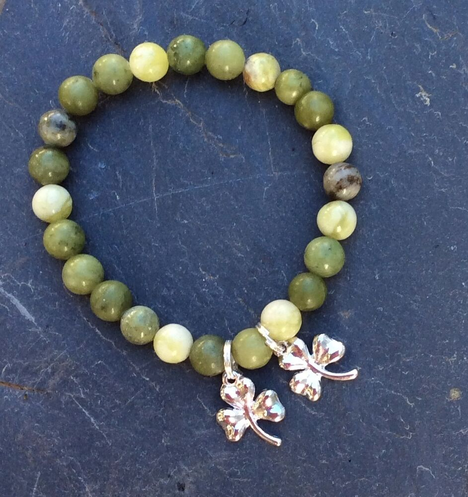 connemara marble bracelet with lucky shamrock charms
