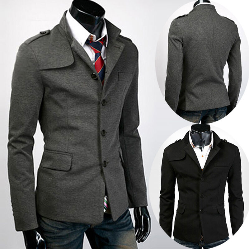 Mens Slim Fit Stylish Casual Trench Coat Button Peacoat ...
