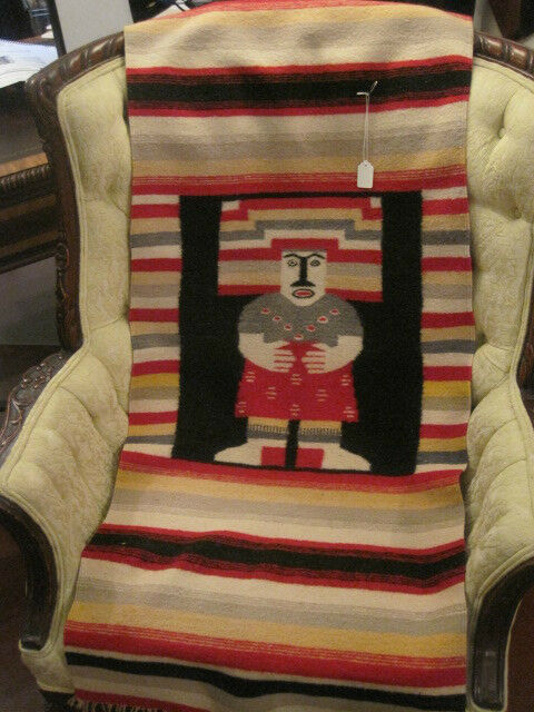 Old Vintage Wool Handwoven Native Navajo Or Mexican Rug